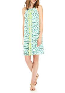 Sleeveless Print Halter Dress