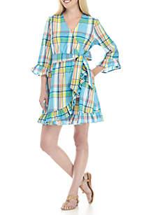 Three-Quarter Sleeve Ruffle Wrap Dress