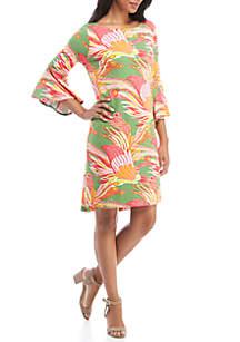 Boat Neck Print Dress