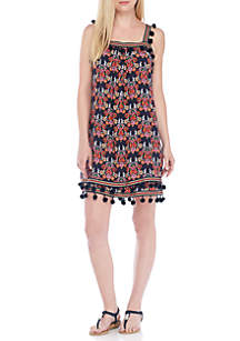Sleeveless Print Pom Dress