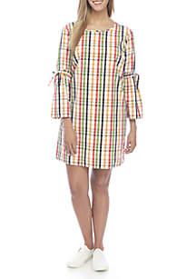 3/4 Sleeve Bow Tie Print Dress