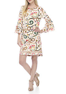 3/4 Bell Sleeve Boat Neck Print Dress
