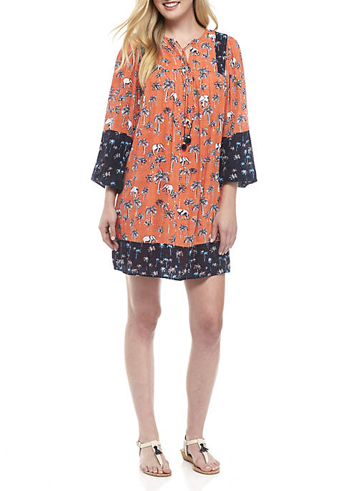Crown & Ivy™ Three-Quarter Bell Sleeve Printed Dress