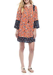 Three-Quarter Bell Sleeve Printed Dress