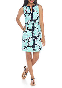Sleeveless Split Neck Printed Sheath Dress