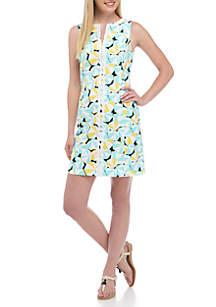 Short Sleeve Split Neck Sheath Dress