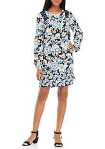 Long Sleeve Printed Peasant Dress
