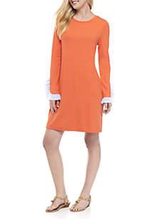 Long Ruffle Sleeve Solid Dress