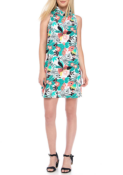 Crown & Ivy™ Sleeveless Ruffle Neck Print Dress