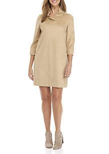 3/4 Sleeve Ruffle Neck Dress