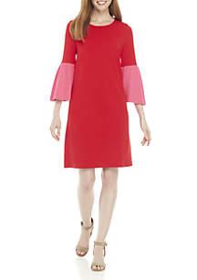 Colorblock 3/4 Bell Sleeve Dress