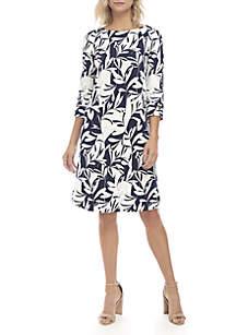 3/4 Sleeve Leaf Print  Sheath Dress