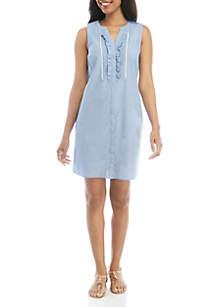 Crown & Ivy™ Sleeveless Ruffle Shirt Dress