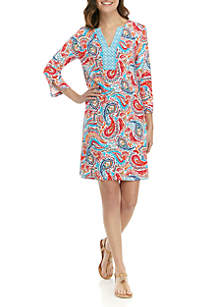 Crown & Ivy™ 3/4 Sleeve Split Neck Printed Dress