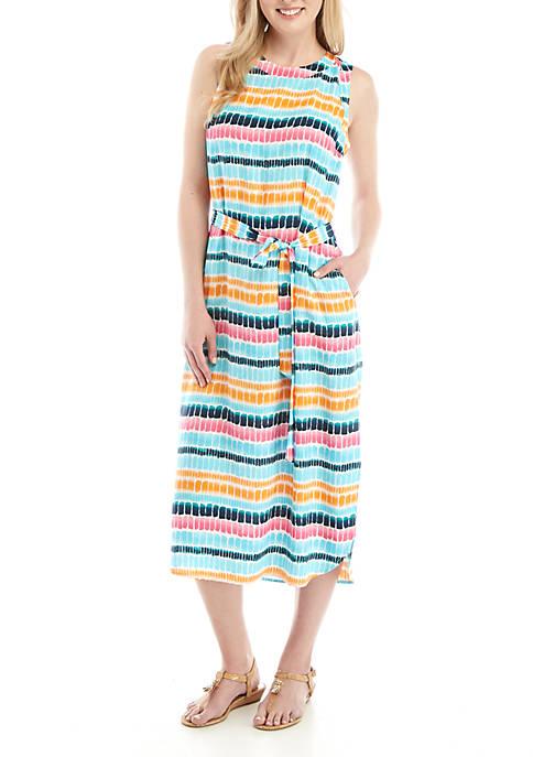 Crown & Ivy™ Sleeveless Waist Tie Printed Dress