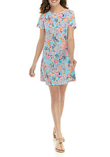 Crown & Ivy™ Short Sleeve Pleated Back Printed Dress