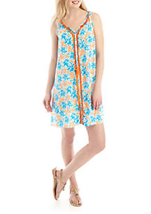 Crown & Ivy™ Sleeveless Fringe Front Printed Dress