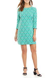 Crown & Ivy™ 3/4 Sleeve Bow Back Lattice Dress