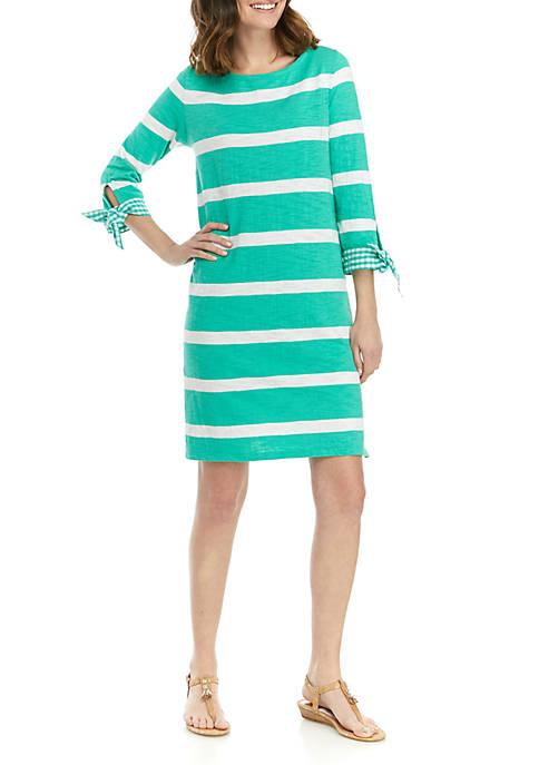 Plus Size Tie Cuff Stripe Dress