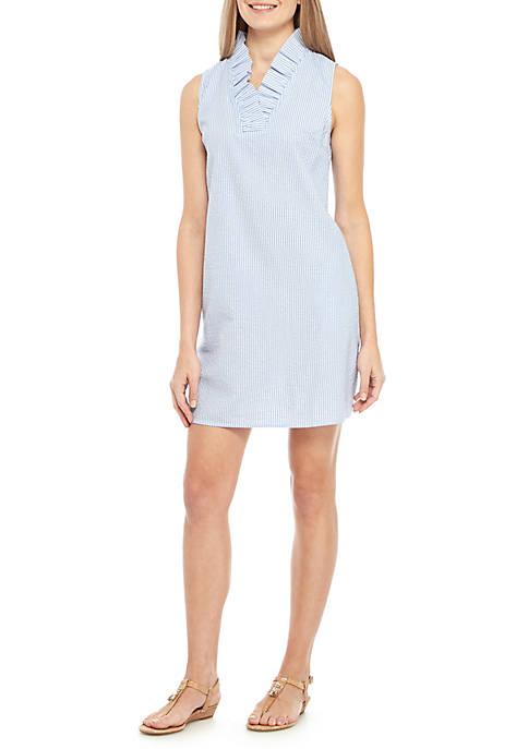 Crown & Ivy™ Sleeveless Ruffle Neck Stripe Dress