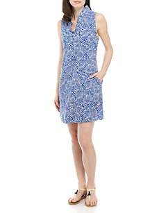 Crown & Ivy™ Sleeveless Ruffle Neck Printed Dress