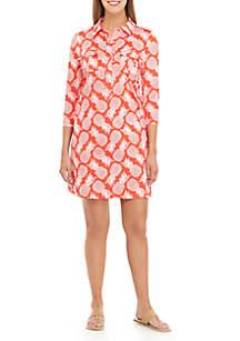 Crown & Ivy™ Elbow Sleeve Collar Shirt Dress