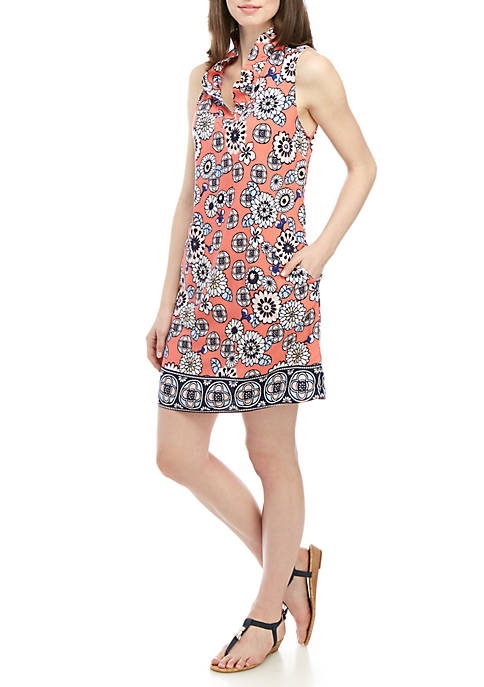 Sleeveless Ruffle Neck Printed Dress