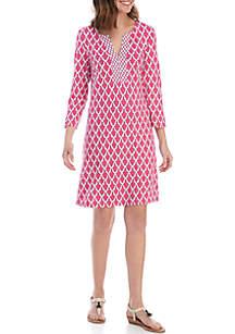 980674dc49e ... Crown   Ivy™ 3 4 Split Sleeve Lattice Print Dress