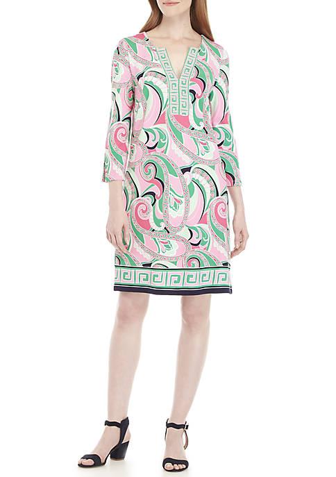 Crown & Ivy™ 3/4 Split Sleeve Print Dress