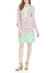 Crown & Ivy™ 3/4 Split Sleeve Printed Dress
