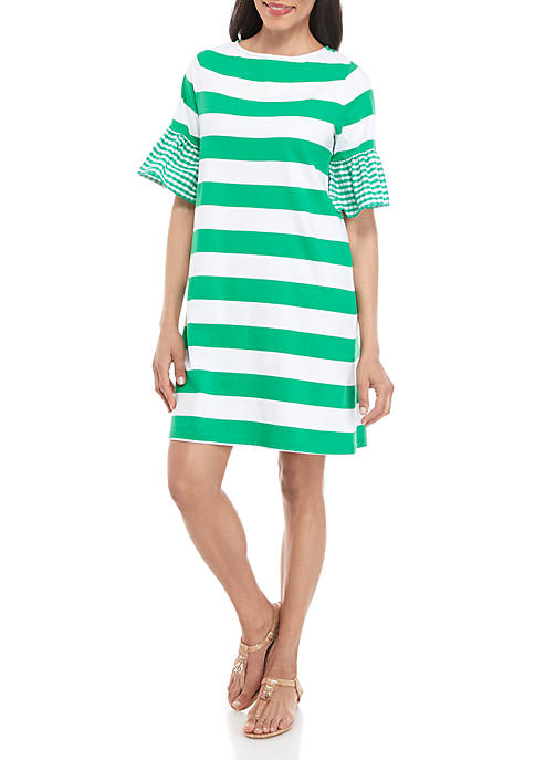 Elbow Bell Sleeve Boat Neck Dress