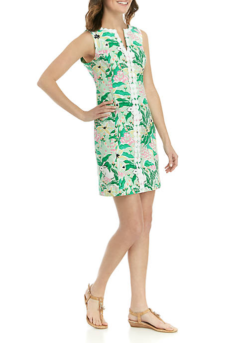 Crown & Ivy™ Sleeveless Crochet Neck Printed Dress