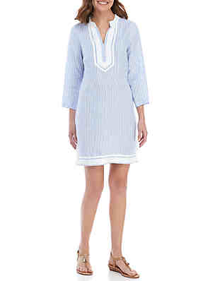 d087d255794ba Crown   Ivy™ 3 4 Sleeve Striped Kurta Dress ...