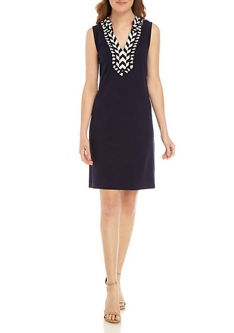 Crown & Ivy™ Sleeveless Embroidered Neck Kurta Dress