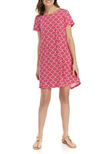 Crown & Ivy™ Short Sleeve Pleated Back Printed Dress