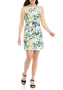 Crown & Ivy™ Sleeveless Halter Printed Dress