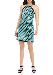 Crown & Ivy™ Sleeveless Halter Printed Dress
