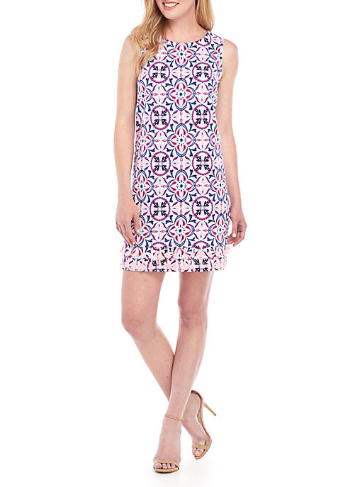 Sleeveless Printed A Line Dress