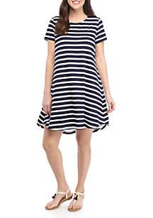 Crown & Ivy™ Short Sleeve Stripe Swing Dress