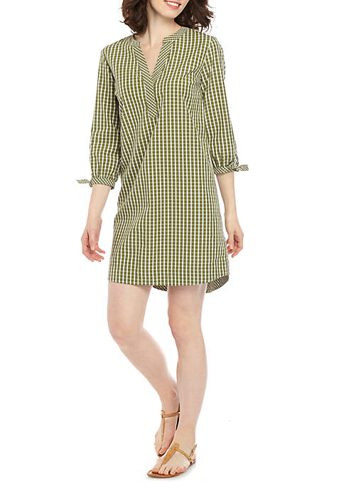 Crown & Ivy™ 3/4 Tie Sleeve Gingham Dress