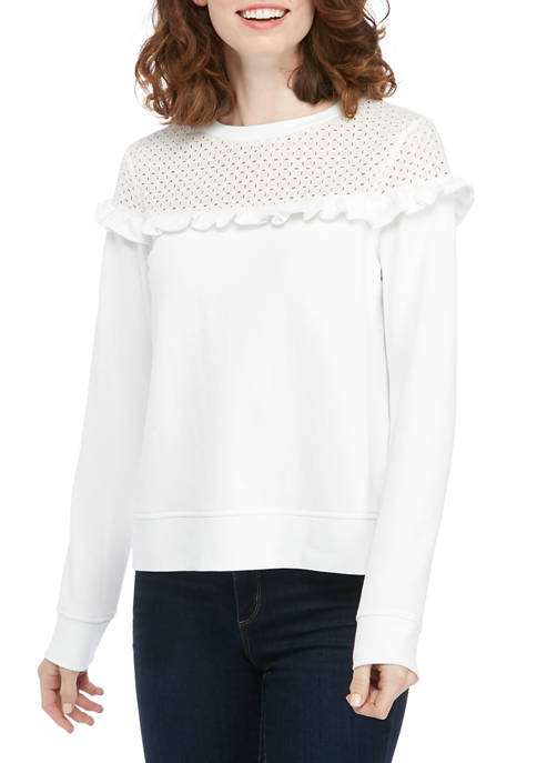 Crown & Ivy™ Womens Eyelet Yoke Pullover