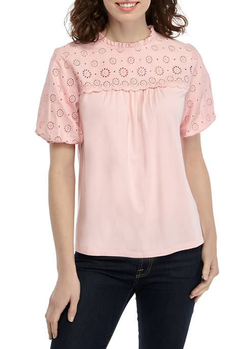 Crown & Ivy™ Womens Eyelet Knit Top