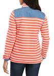 Womens Long Sleeve Button Sweatshirt