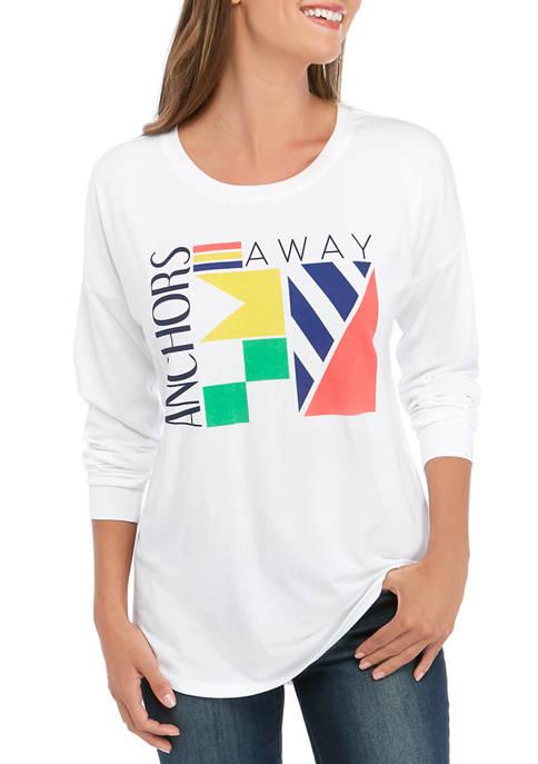 Womens Garment Dye Long Sleeve Sweeper T-Shirt