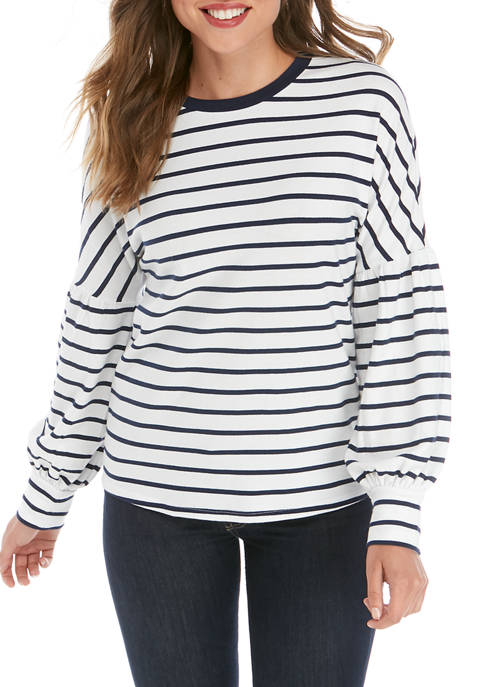 Crown & Ivy™ Womens Long Lantern Sleeve Stripe
