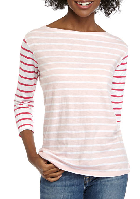 Womens 3/4 Sleeve Boat Neck Top