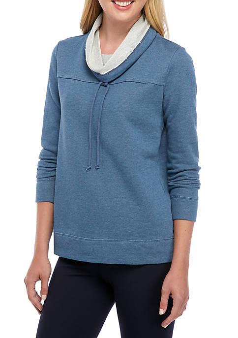 Crown & Ivy™ Womens Dye Terry Cowl Neck