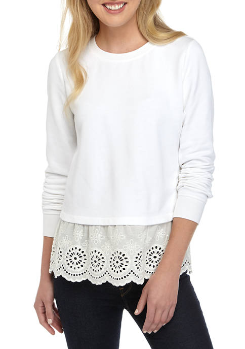 Crown & Ivy™ Womens Long Sleeve Eyelet Hem