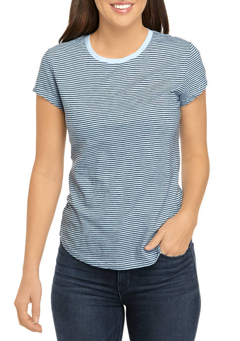 Womens Short Sleeve Crew Yarn Dye Shirt