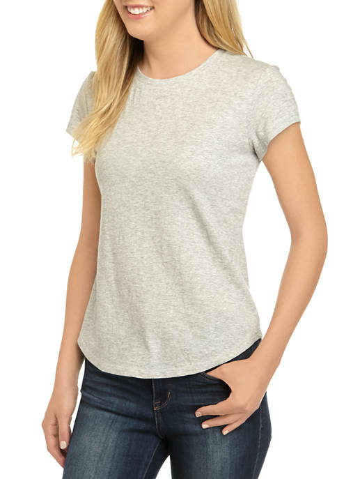 Crown & Ivy™ Womens Short Sleeve Crew Heather